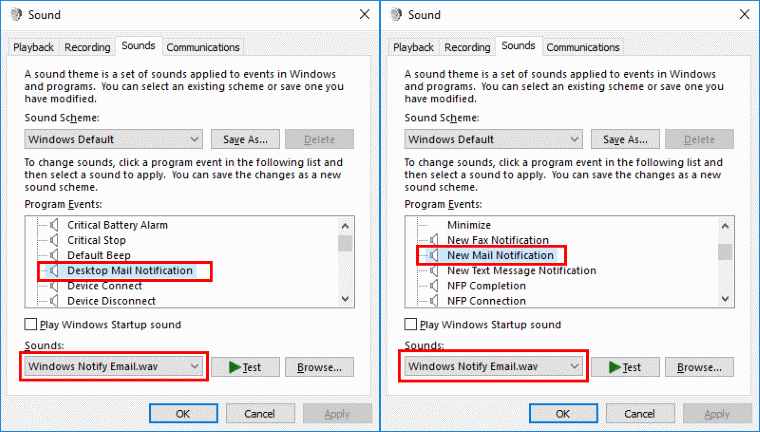 Outlook 2016: Turn Mail Notification Sound On/Off