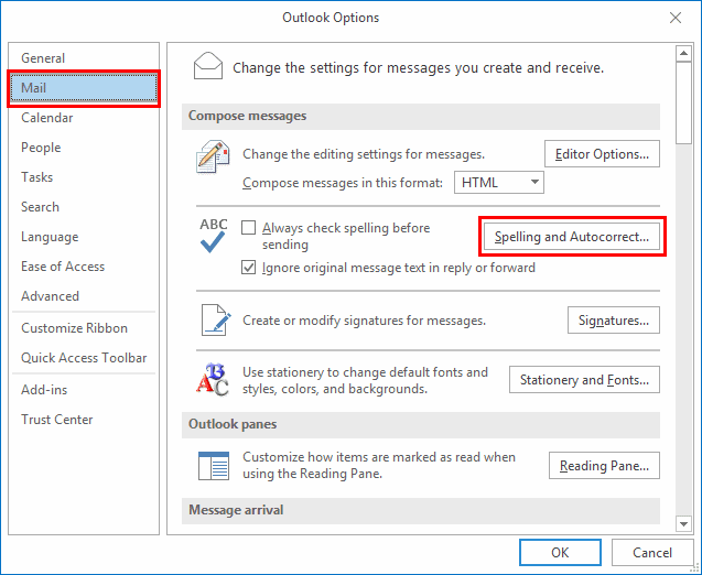 Outlook 2019/2016: Enable/Disable Autocorrect - Technipages