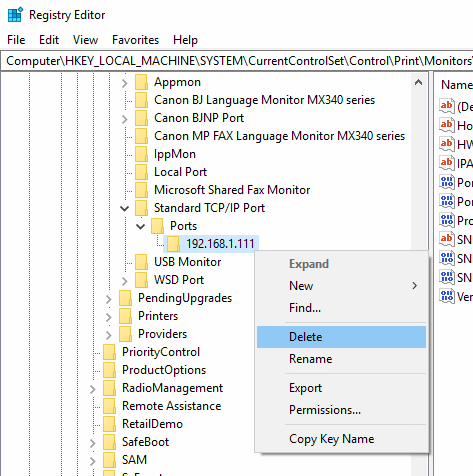 remove printer drivers from registry
