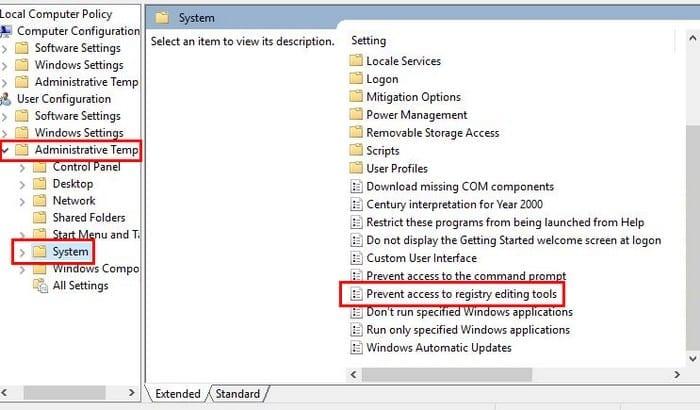 Windows 10: Disable Regedit