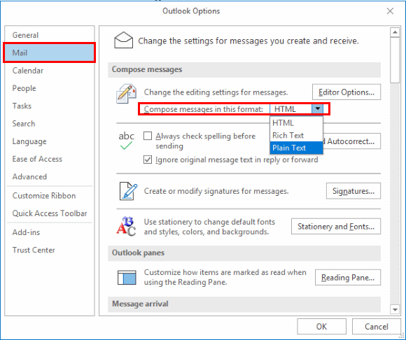Outlook: Change View to HTML or Plain Text