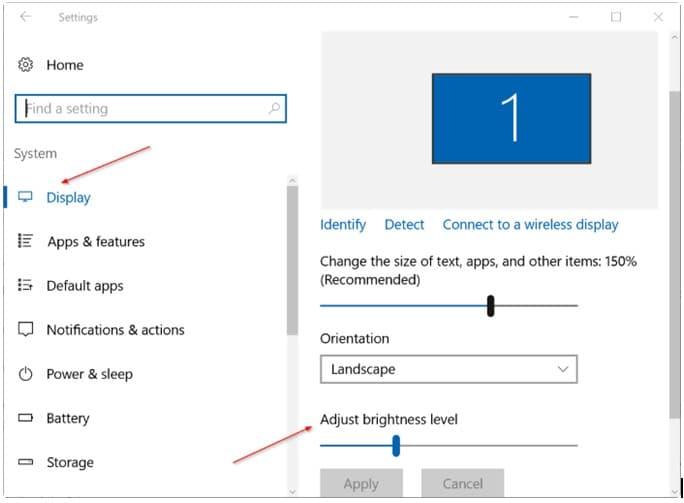 Windows 10: Change Screen Brightness