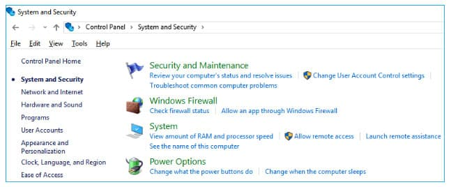 Click on System and Security option