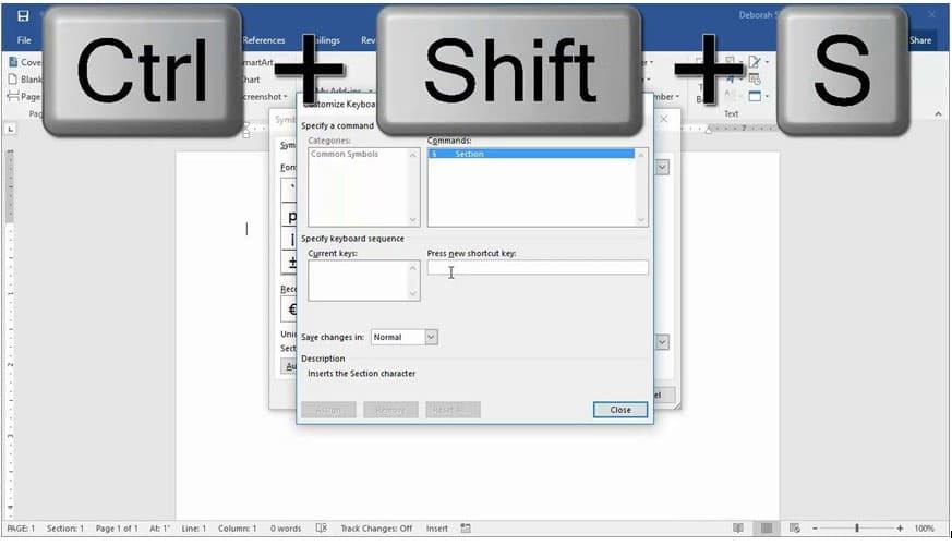 Ctrl + Shift + S