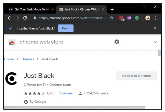 Install Just Black theme for browser