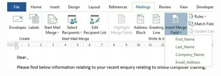 Select Mail Merge Field