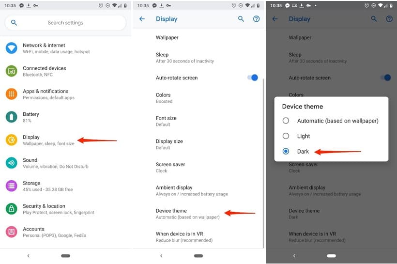 C:\Users\Md. Rashedul Kabir\Desktop\technipages.com\How To Make Use Of Android Pie's Dark Mode To Save Battery Life