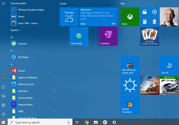 Interface Windows 10 Home