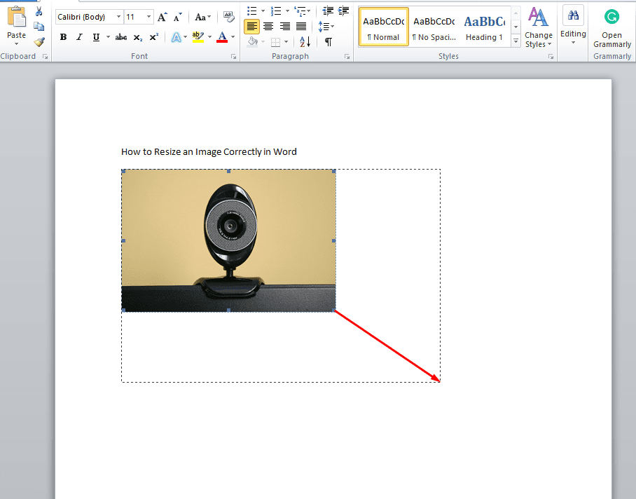Word Resize Images