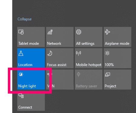 Windows 10: Enable Blue Light Filter