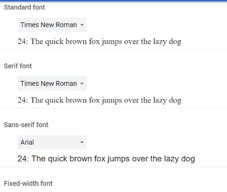 Google Chrome: Change Fonts