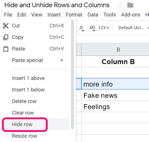 Google Sheets: Hide/Unhide Rows & Columns