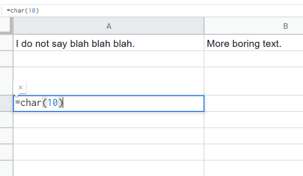 Google Sheets: Add Multiple Lines of Text in Single Cell