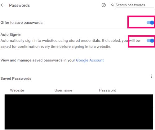 Chrome: Enable/Disable AutoFill