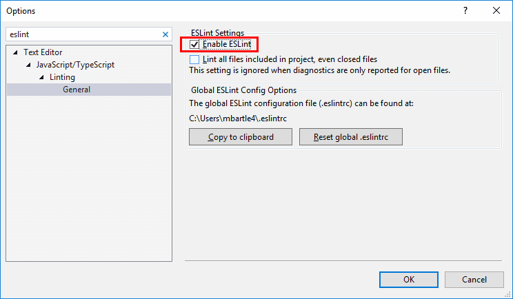 Visual-Studio-ESLint-Setting