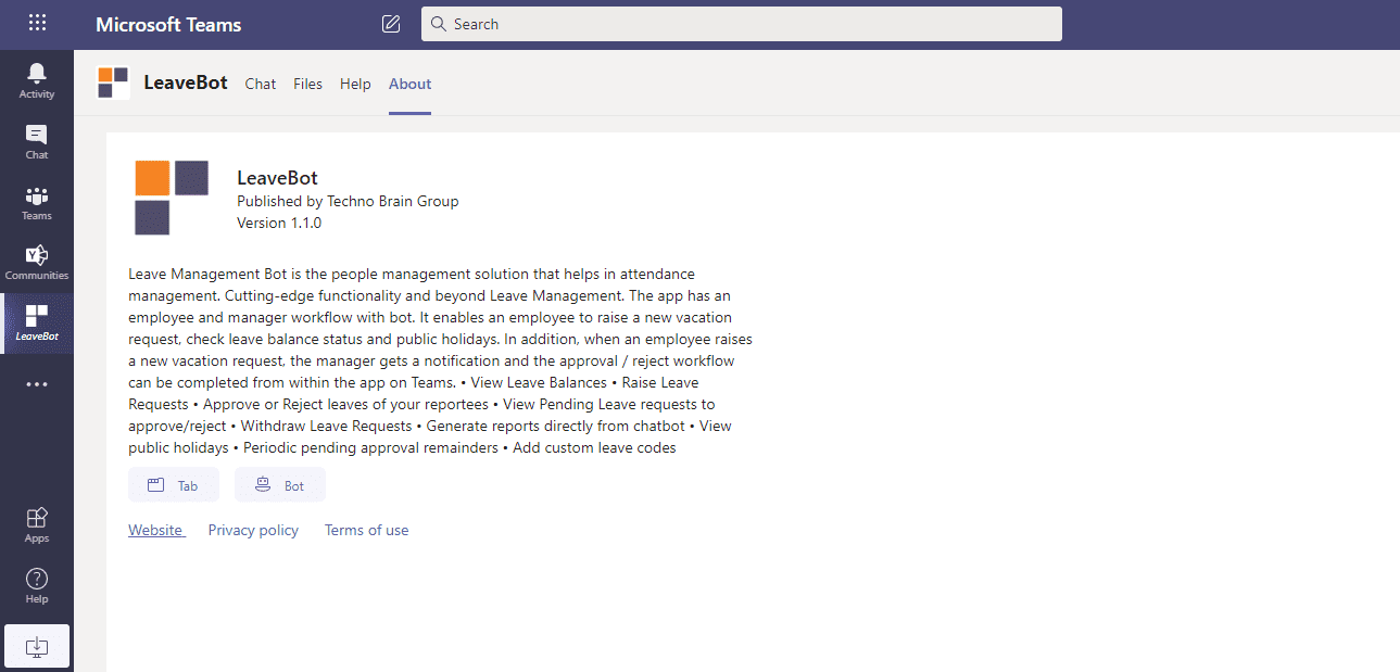 leavebot microsoft teams