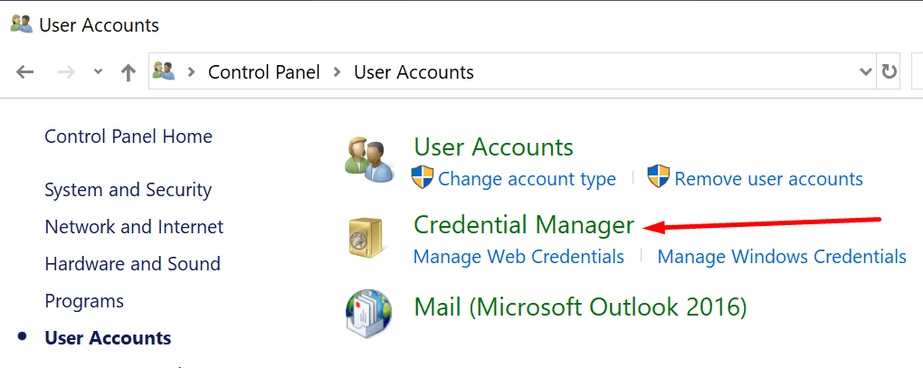 control panel credential manager