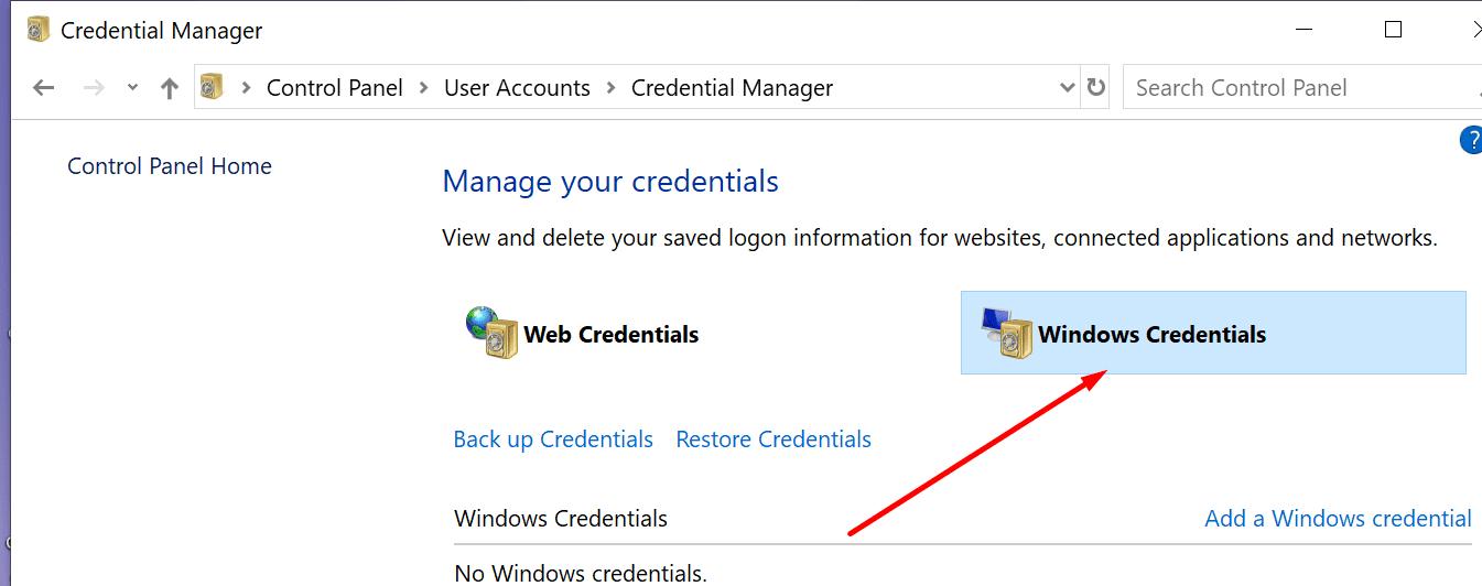 control panel windows credentials