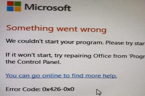 office 365 error code 0x426-0x0
