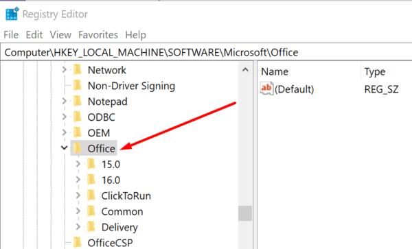 microsoft office registry editor