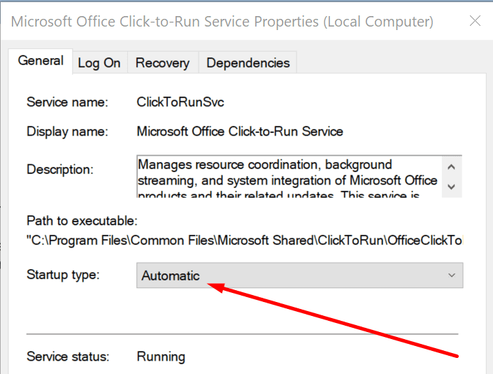office click-to-run service automatic startup type