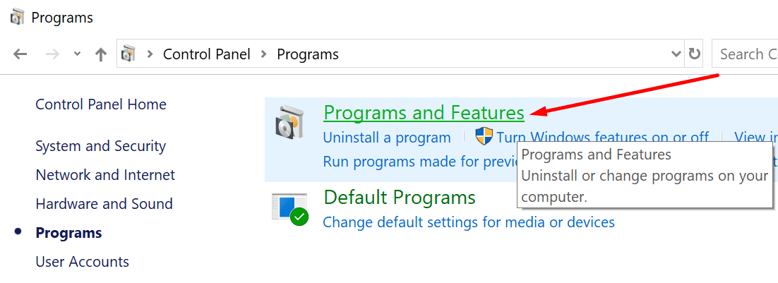 programs and features control panel
