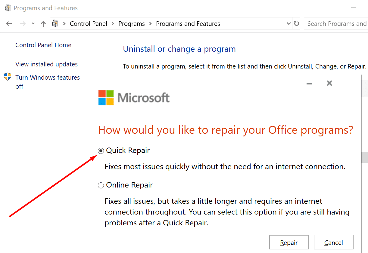quick repair office windows 10