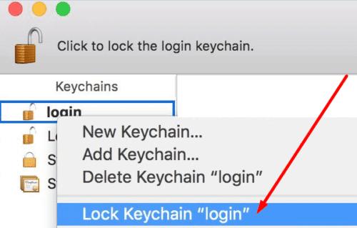 Lock Keychain login macbook