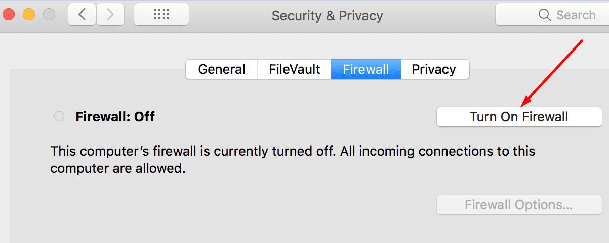 Turn Off Firewall mac