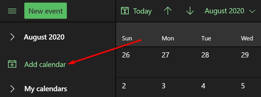create new calendar office 365