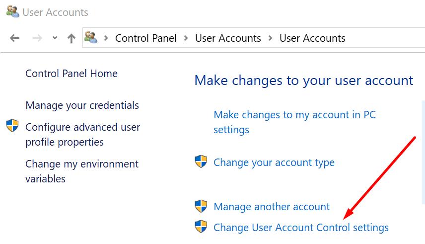 change user account control settings windows 10