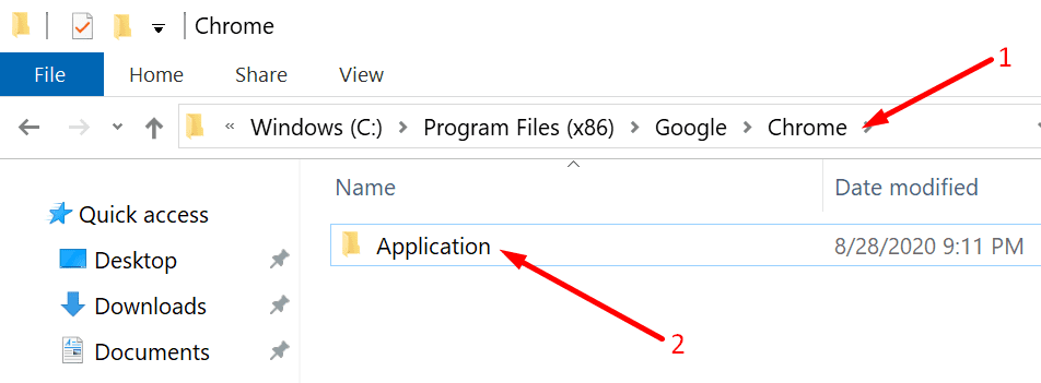 chrome application folder