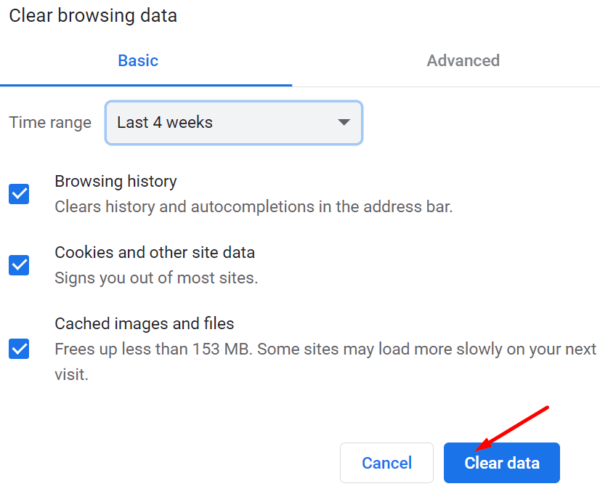 clear browser cache cookies chrome