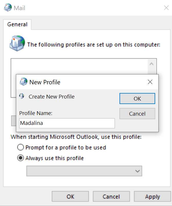create new profile outlook