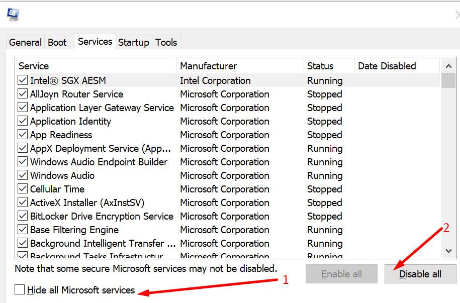 hide all microsoft services system configuration