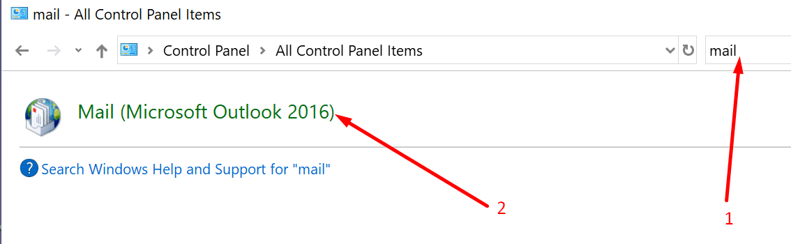 microsoft outlook control panel