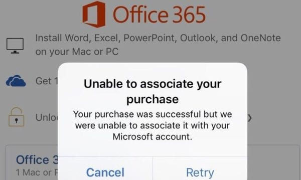 fix office 365 unable to associate your purchase