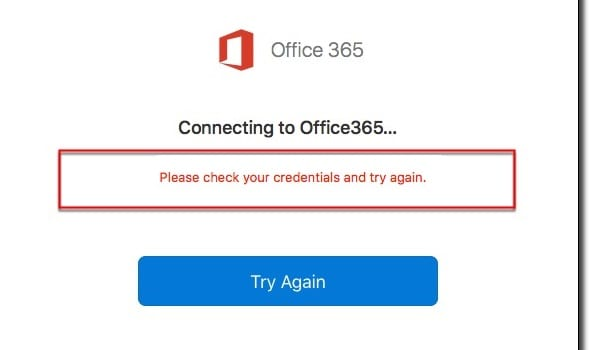 Office 365: Unable to Authenticate Your Credentials