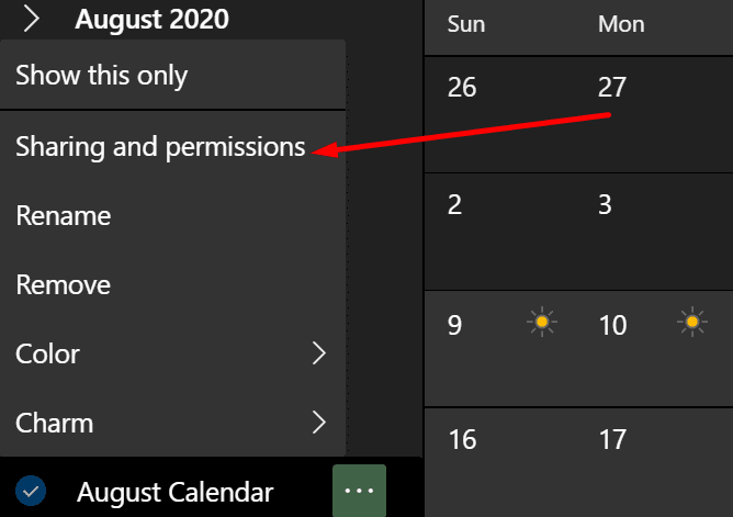 office calendar sharing and permissions
