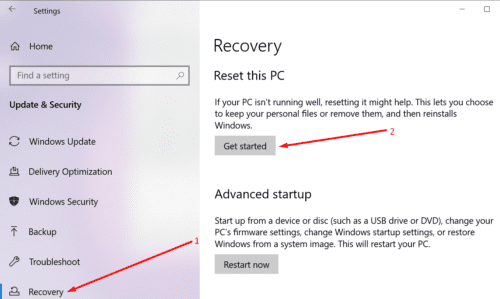 reset this PC windows 10