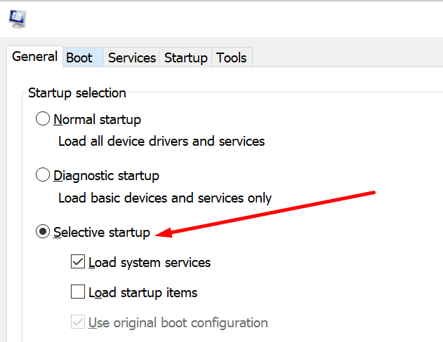 system configuration selective startup