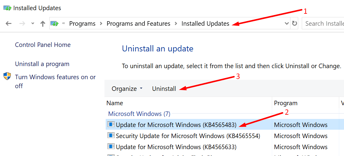 uninstall updates windows 10