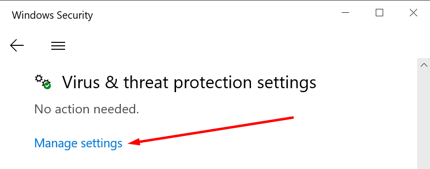 virus and threat protection settings windows 10