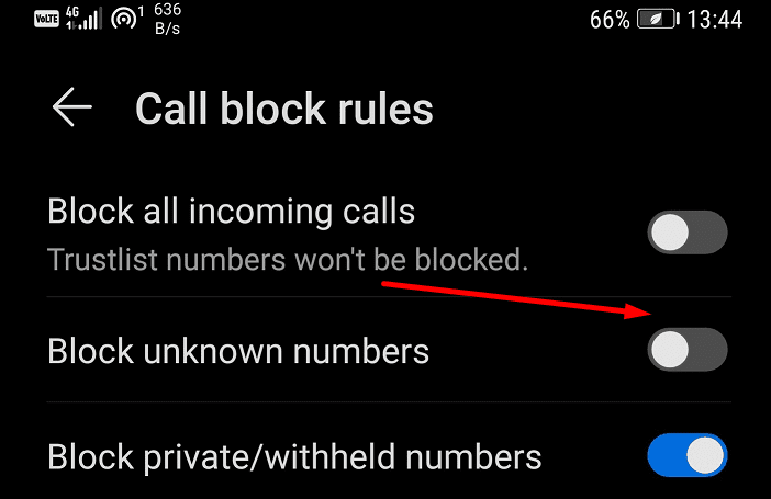 block unknown numbers huawei