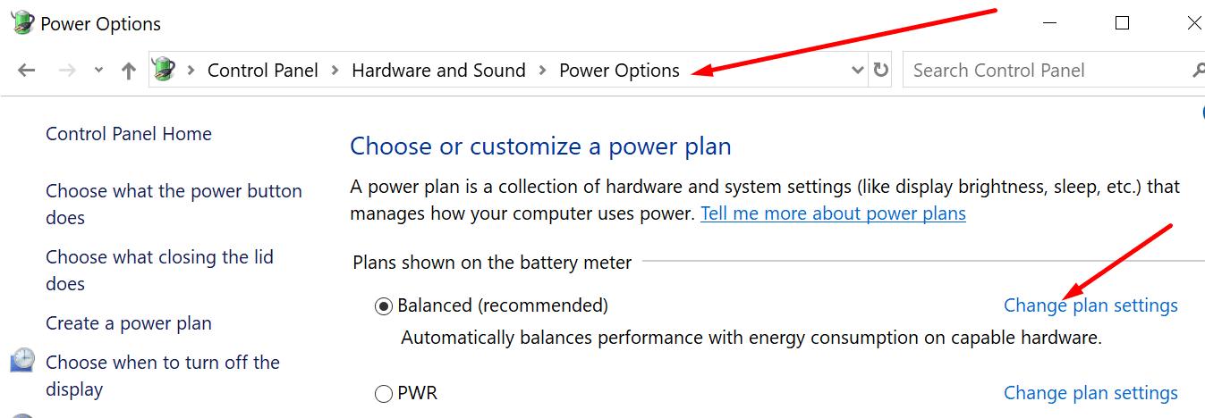 change power plan settings windows 10