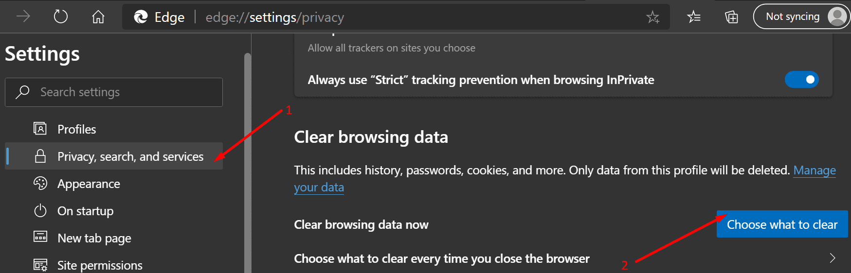 clear browsing data edge browser