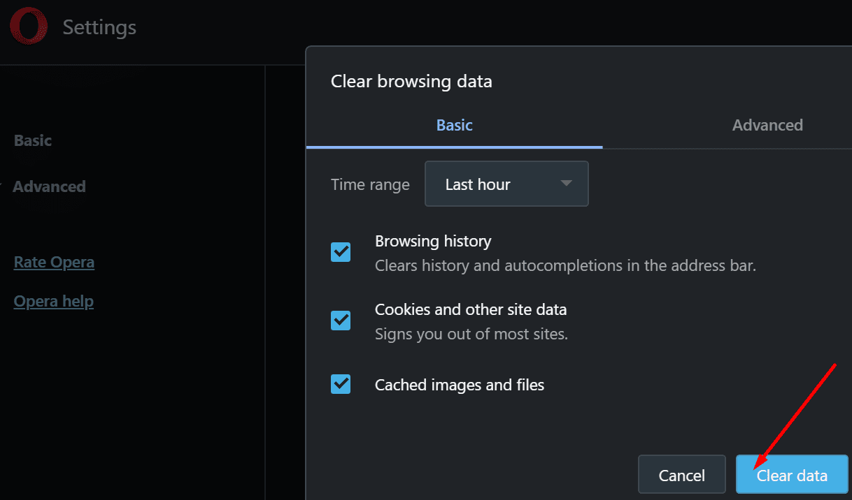 clear browsing data opera browser