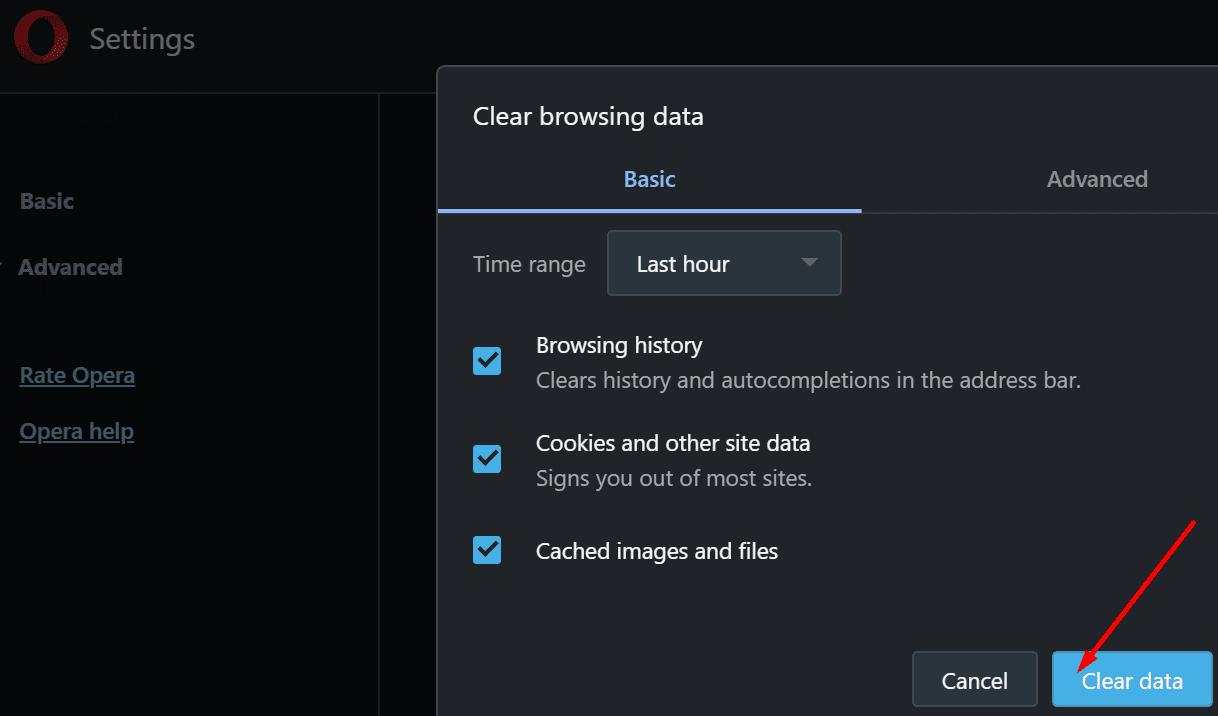 clear browsing data opera