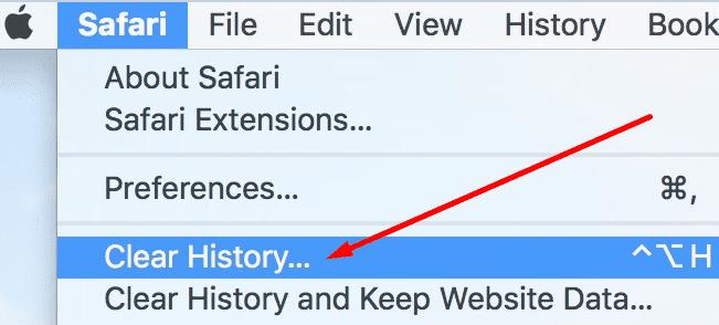clear browsing data safari