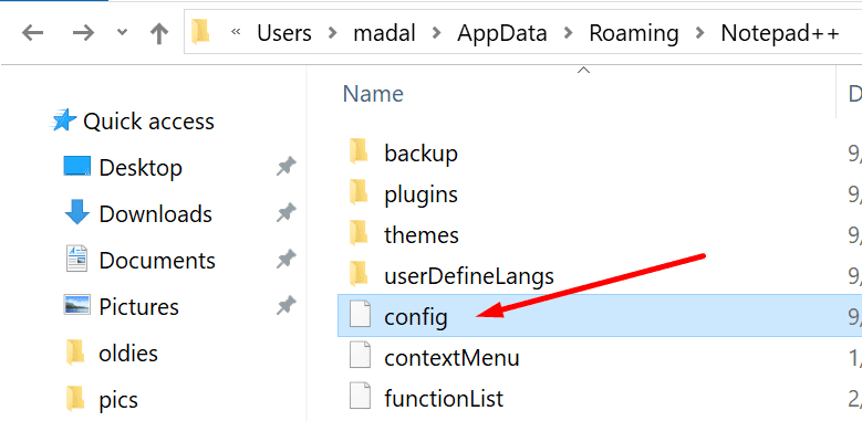 config file notepad++